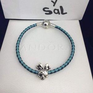 Pandora leather bracelet with Minnie charm